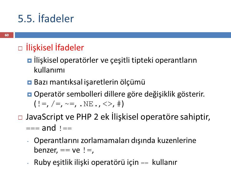 5.5. İfadeler  İlişkisel İfadeler  İlişkisel operatörler ve çeşitli tipteki operantların kullanımı  Bazı mantıksal işaretlerin ölçümü  Operatör se