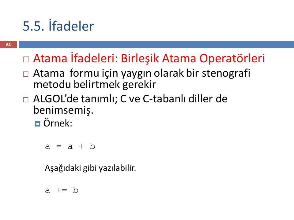 5.5. İfadeler  Atama İfadeleri: Birleşik Atama Operatörleri  Atama formu için yaygın olarak bir stenografi metodu belirtmek gerekir  ALGOL'de tanım