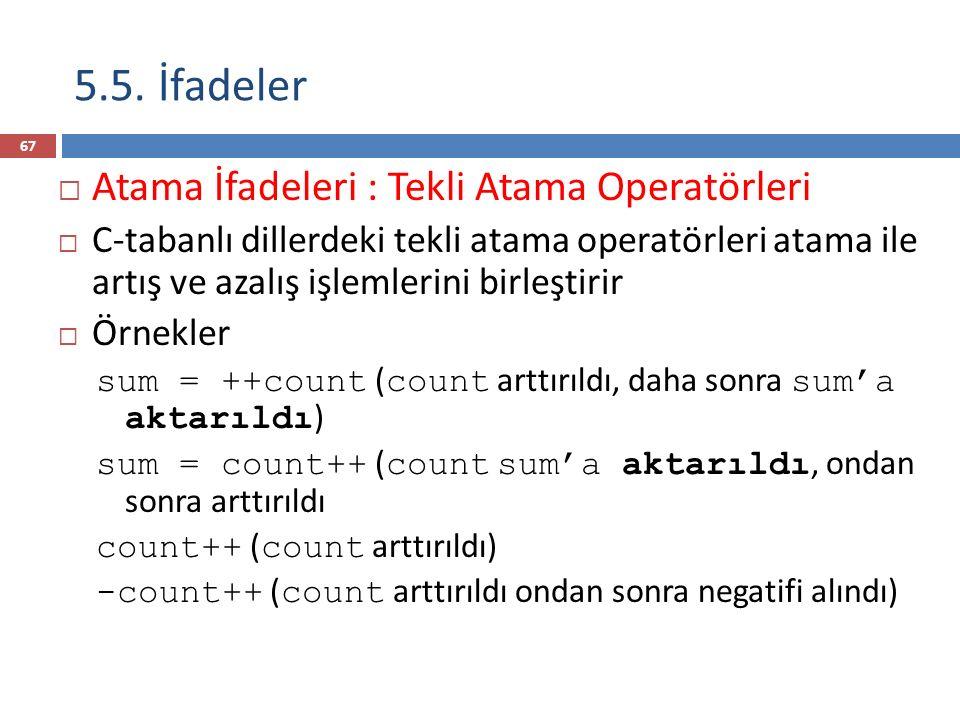 5.5. İfadeler  Atama İfadeleri : Tekli Atama Operatörleri  C-tabanlı dillerdeki tekli atama operatörleri atama ile artış ve azalış işlemlerini birle