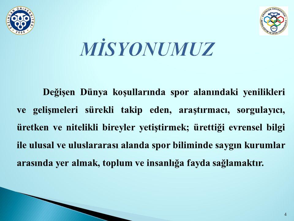 Spor eğitimi alanında Anadolu'da bir dünya modeli ve markası olmaktır. 5