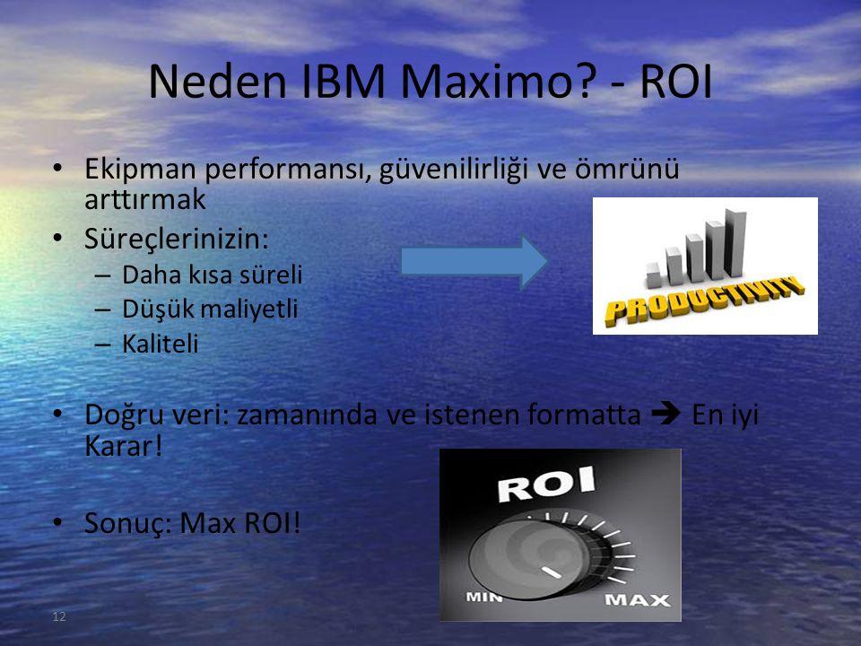 Neden IBM Maximo? - ROI Ekipman performansı, güvenilirliği ve ömrünü arttırmak Süreçlerinizin: – Daha kısa süreli – Düşük maliyetli – Kaliteli Doğru v