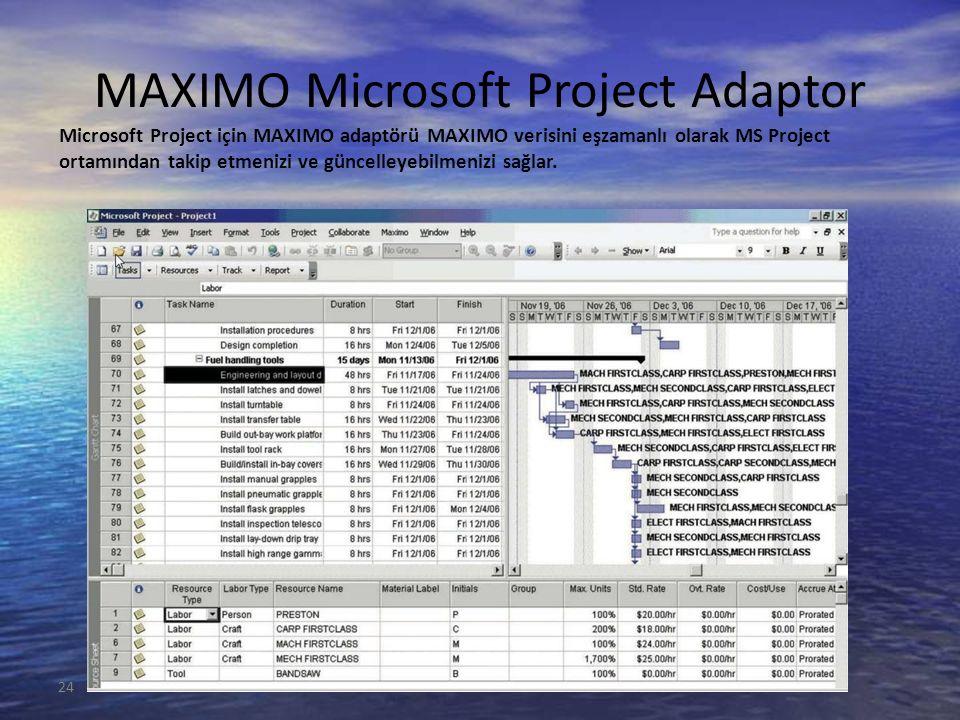 24 MAXIMO Microsoft Project Adaptor Microsoft Project için MAXIMO adaptörü MAXIMO verisini eşzamanlı olarak MS Project ortamından takip etmenizi ve güncelleyebilmenizi sağlar.