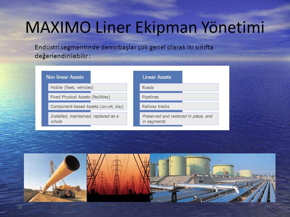 28 MAXIMO Liner Ekipman Yönetimi Endüstri segmentinde demirbaşlar çok genel olarak iki sınıfta değerlendirilebilir :