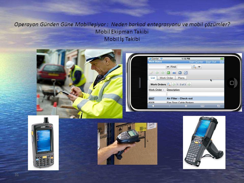 Operayon Günden Güne Mobilleşiyor : Neden barkod entegrasyonu ve mobil çözümler? Mobil Ekipman Takibi Mobil İş Takibi 31