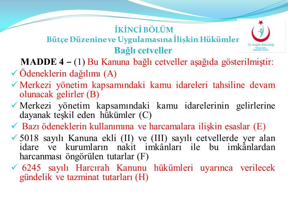 İKİNCİ BÖLÜM Bütçe Düzenine ve Uygulamasına İlişkin Hükümler Bağlı cetveller MADDE 4 ‒ (1) Bu Kanuna bağlı cetveller aşağıda gösterilmiştir: Ödenekler