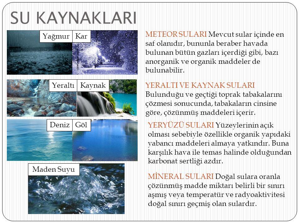 SU KAYNAKLARI METEOR SULARI Mevcut sular içinde en saf olanıdır, bununla beraber havada bulunan bütün gazları içerdiği gibi, bazı anorganik ve organik