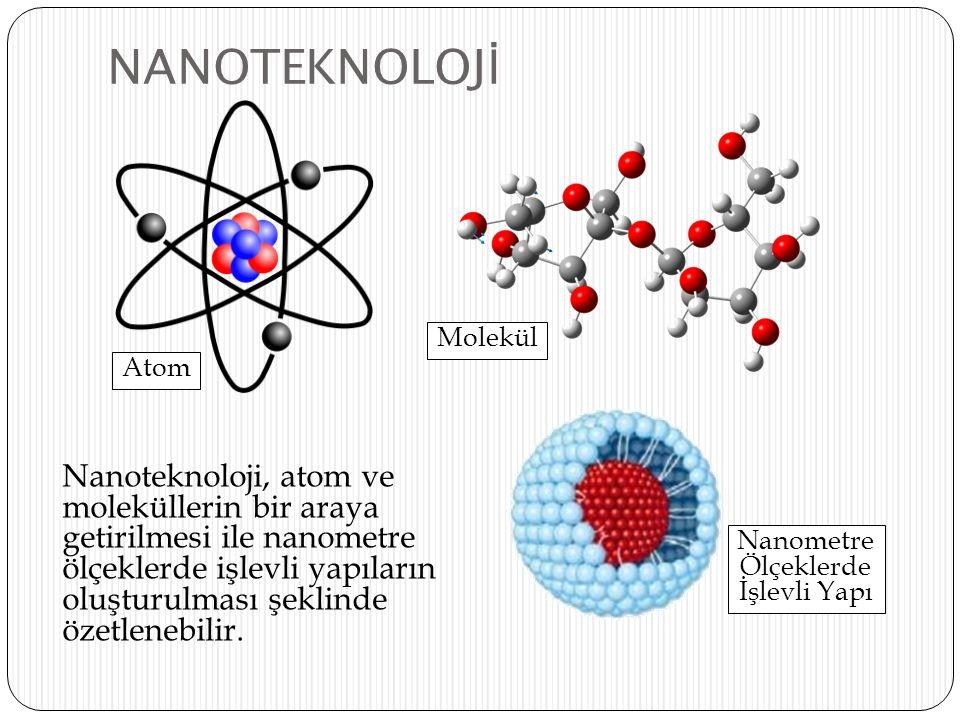 NANOTEKNOLOJ İ Nanoteknoloji, atom ve moleküllerin bir araya getirilmesi ile nanometre ölçeklerde işlevli yapıların oluşturulması şeklinde özetlenebil