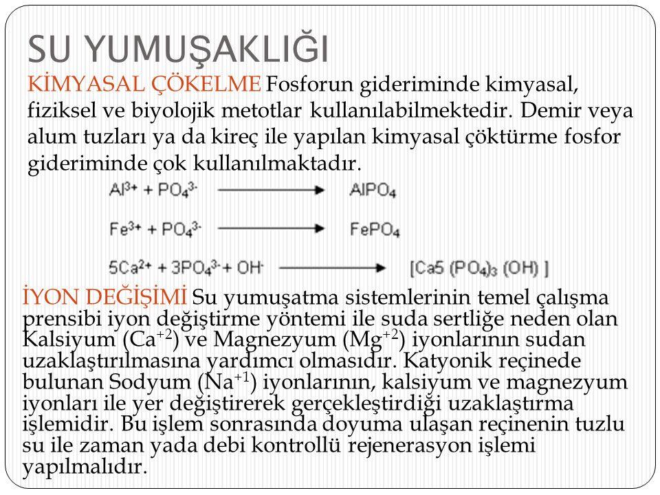 SU YUMU Ş AKLI Ğ I KİMYASAL ÇÖKELME Fosforun gideriminde kimyasal, fiziksel ve biyolojik metotlar kullanılabilmektedir. Demir veya alum tuzları ya da