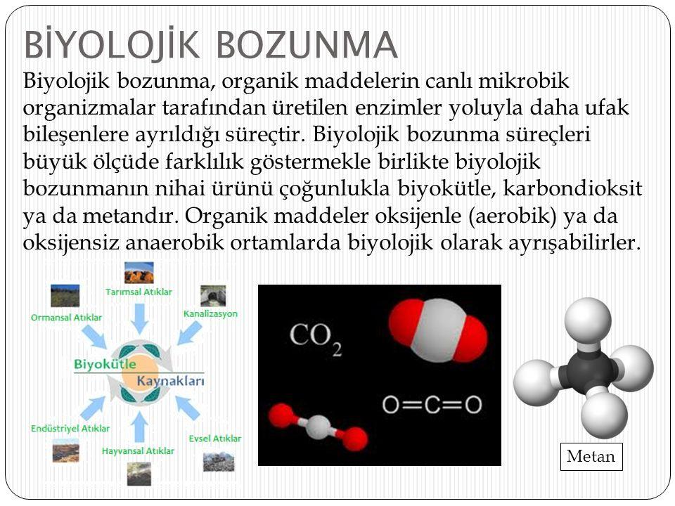 B İ YOLOJ İ K BOZUNMA Biyolojik bozunma, organik maddelerin canlı mikrobik organizmalar tarafından üretilen enzimler yoluyla daha ufak bileşenlere ayr