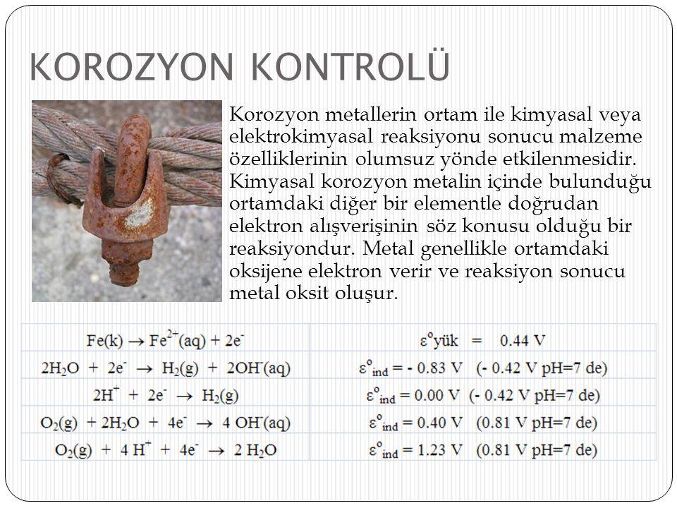 KOROZYON KONTROLÜ Korozyon metallerin ortam ile kimyasal veya elektrokimyasal reaksiyonu sonucu malzeme özelliklerinin olumsuz yönde etkilenmesidir. K