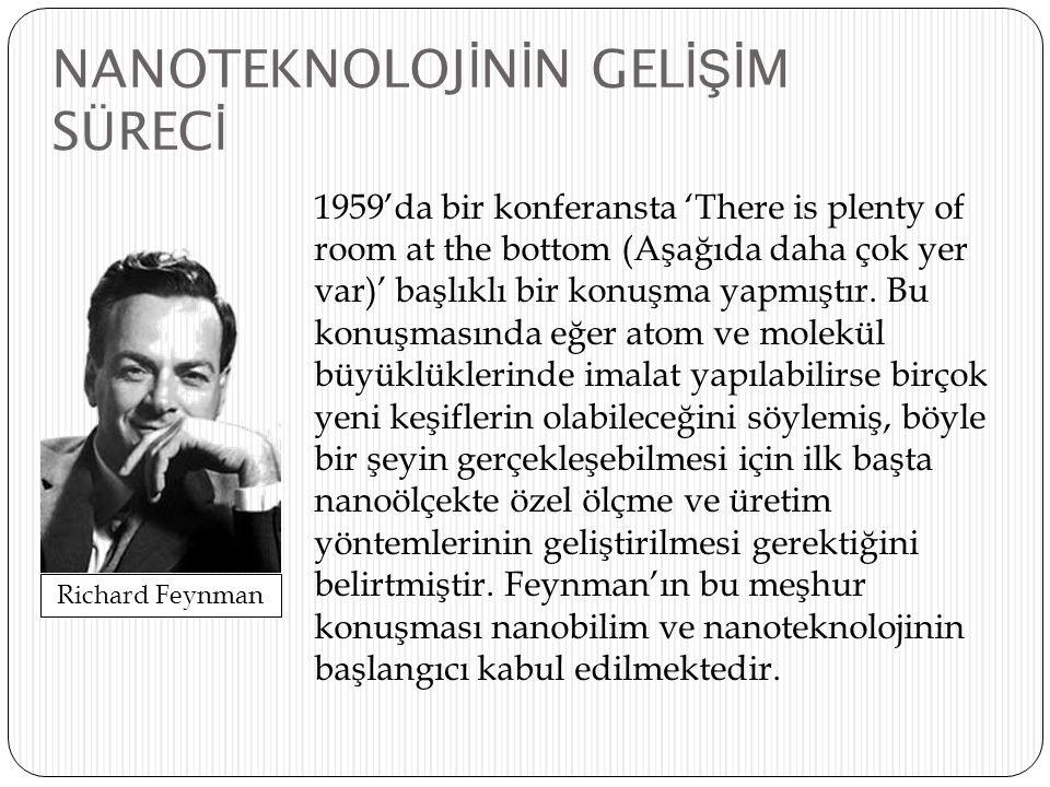 1980'li yılların başlarında nanoyapıların bazı fiziksel büyüklüklerini ölçmek ve nanoölçekte malzeme üretmek maksadıyla kullanılabilecek bazı yöntemler ve aygıtlar geliştirildi, böylece Feynman'ın bahsettiği ilk adım atılmış oldu; taramalı tünellemeli mikroskoplar, atom kuvveti mikroskopları bunlardan bazılarıdır.
