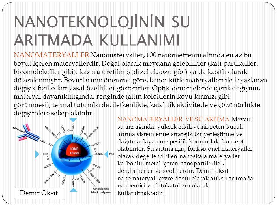 NANOTEKNOLOJ İ N İ N SU ARITMADA KULLANIMI NANOMATERYALLER Nanomateryaller, 100 nanometrenin altında en az bir boyut içeren materyallerdir. Doğal olar