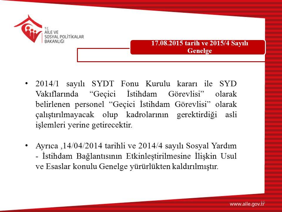 """2014/1 sayılı SYDT Fonu Kurulu kararı ile SYD Vakıflarında """"Geçici İstihdam Görevlisi"""" olarak belirlenen personel """"Geçici İstihdam Görevlisi"""" olarak ç"""