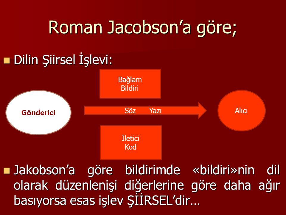 Roman Jacobson'a göre; Dilin Şiirsel İşlevi: Dilin Şiirsel İşlevi: Jakobson'a göre bildirimde «bildiri»nin dil olarak düzenlenişi diğerlerine göre daha ağır basıyorsa esas işlev ŞİİRSEL'dir… Jakobson'a göre bildirimde «bildiri»nin dil olarak düzenlenişi diğerlerine göre daha ağır basıyorsa esas işlev ŞİİRSEL'dir… Gönderici Söz Yazı Alıcı Bağlam Bildiri İletici Kod