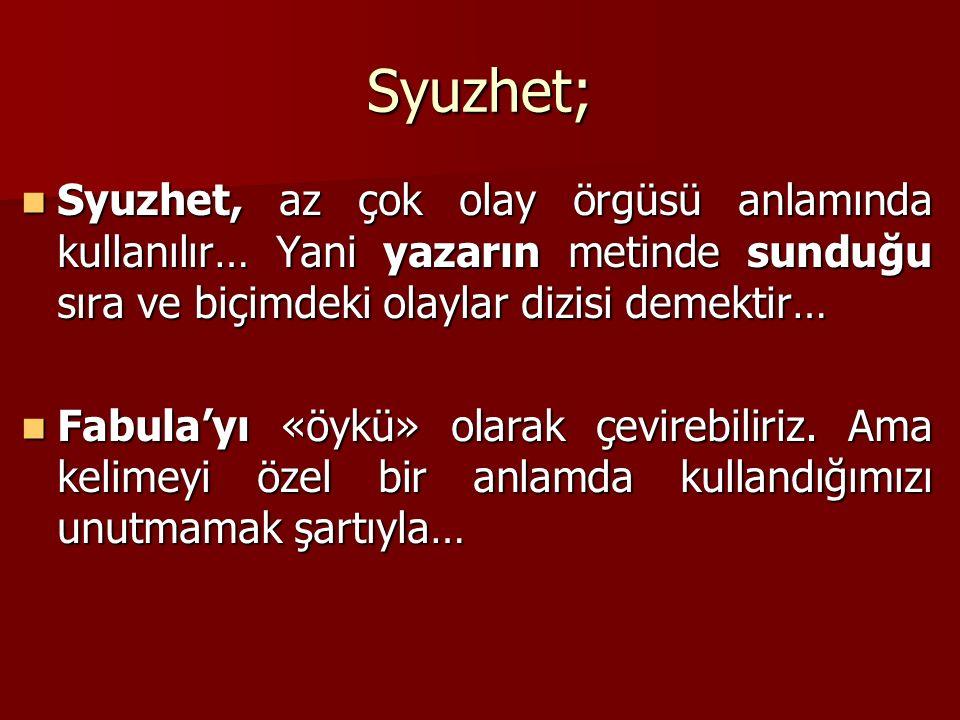 Syuzhet; Syuzhet, az çok olay örgüsü anlamında kullanılır… Yani yazarın metinde sunduğu sıra ve biçimdeki olaylar dizisi demektir… Syuzhet, az çok ola