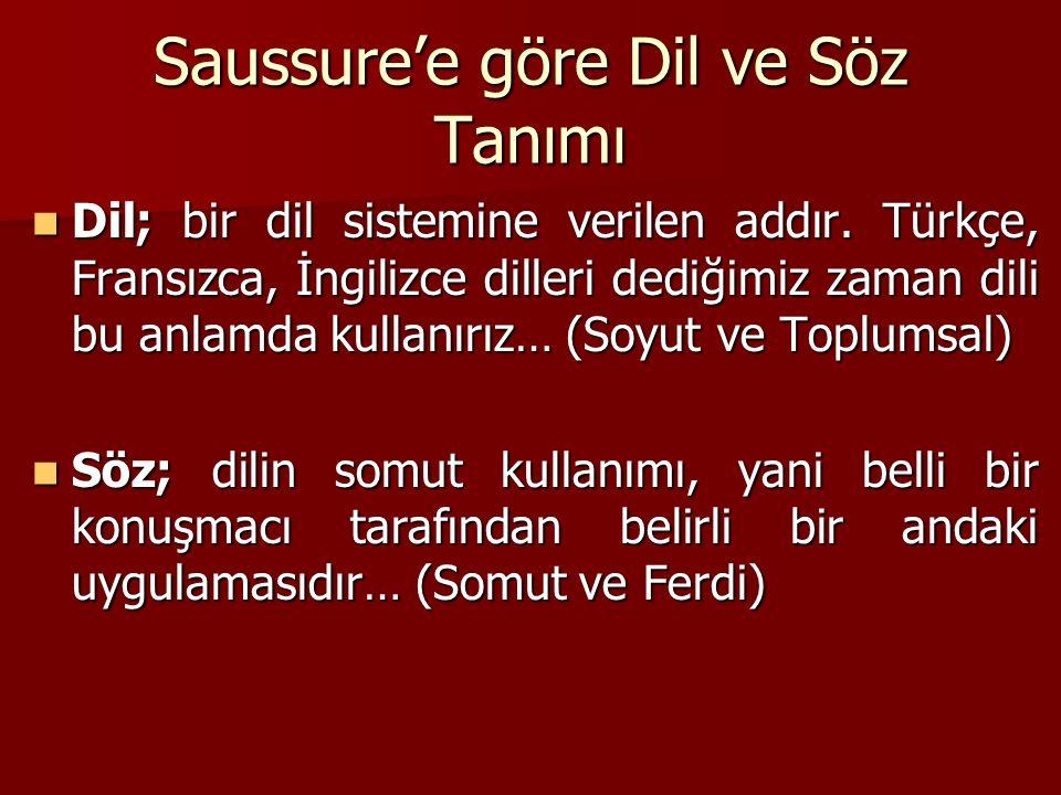 Saussure'e göre Dil ve Söz Tanımı Dil; bir dil sistemine verilen addır. Türkçe, Fransızca, İngilizce dilleri dediğimiz zaman dili bu anlamda kullanırı