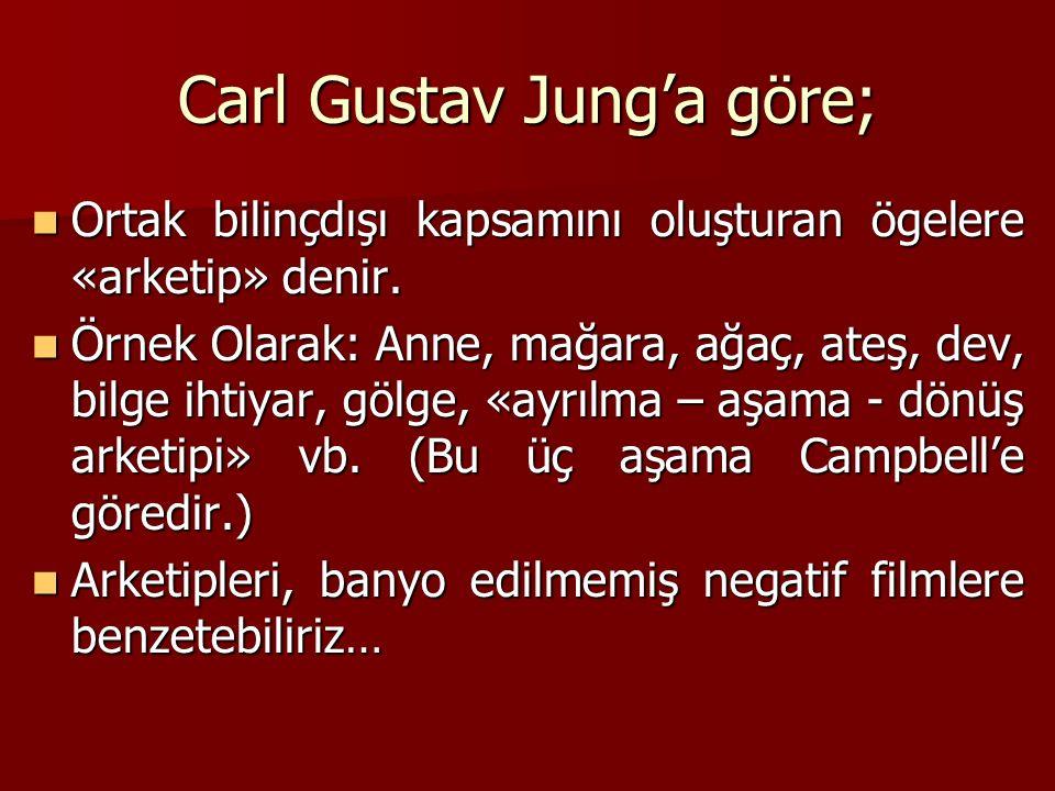 Carl Gustav Jung'a göre; Ortak bilinçdışı kapsamını oluşturan ögelere «arketip» denir.