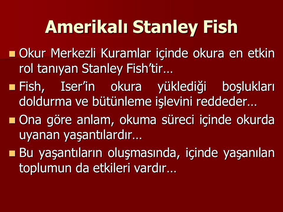 Amerikalı Stanley Fish Okur Merkezli Kuramlar içinde okura en etkin rol tanıyan Stanley Fish'tir… Okur Merkezli Kuramlar içinde okura en etkin rol tanıyan Stanley Fish'tir… Fish, Iser'in okura yüklediği boşlukları doldurma ve bütünleme işlevini reddeder… Fish, Iser'in okura yüklediği boşlukları doldurma ve bütünleme işlevini reddeder… Ona göre anlam, okuma süreci içinde okurda uyanan yaşantılardır… Ona göre anlam, okuma süreci içinde okurda uyanan yaşantılardır… Bu yaşantıların oluşmasında, içinde yaşanılan toplumun da etkileri vardır… Bu yaşantıların oluşmasında, içinde yaşanılan toplumun da etkileri vardır…