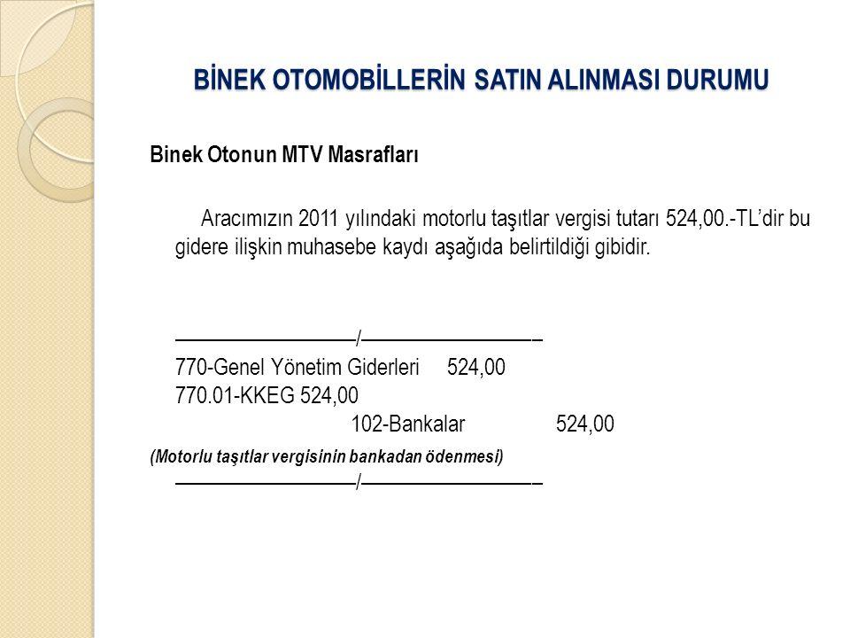 Binek Otonun MTV Masrafları Aracımızın 2011 yılındaki motorlu taşıtlar vergisi tutarı 524,00.-TL'dir bu gidere ilişkin muhasebe kaydı aşağıda belirtildiği gibidir.