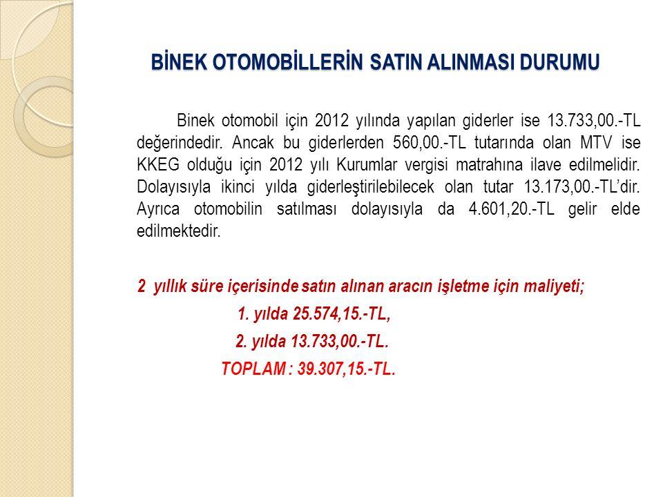 Binek otomobil için 2012 yılında yapılan giderler ise 13.733,00.-TL değerindedir. Ancak bu giderlerden 560,00.-TL tutarında olan MTV ise KKEG olduğu i