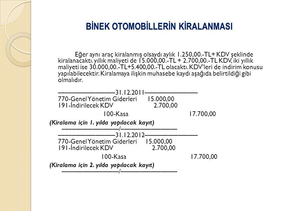 BİNEK OTOMOBİLLERİN KİRALANMASI E ğ er aynı araç kiralanmış olsaydı aylık 1.250,00.-TL+ KDV şeklinde kiralanacaktı. yıllık maliyeti de 15.000,00.-TL +