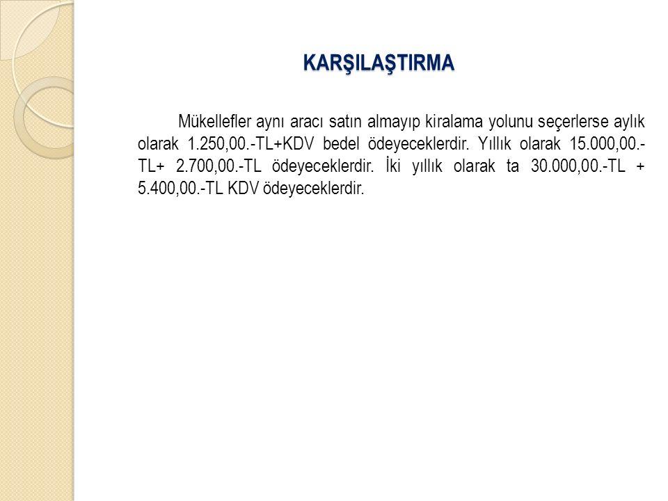 Mükellefler aynı aracı satın almayıp kiralama yolunu seçerlerse aylık olarak 1.250,00.-TL+KDV bedel ödeyeceklerdir. Yıllık olarak 15.000,00.- TL+ 2.70