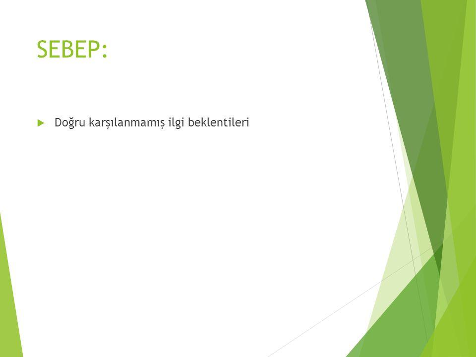 SEBEP:  Doğru karşılanmamış ilgi beklentileri