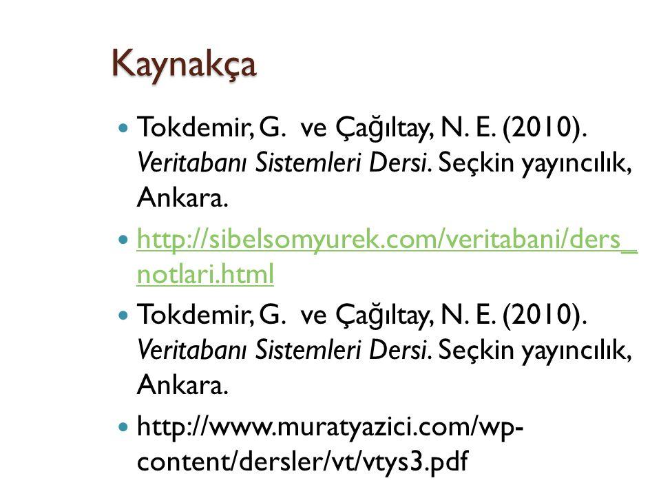 Kaynakça Tokdemir, G. ve Ça ğ ıltay, N. E. (2010).
