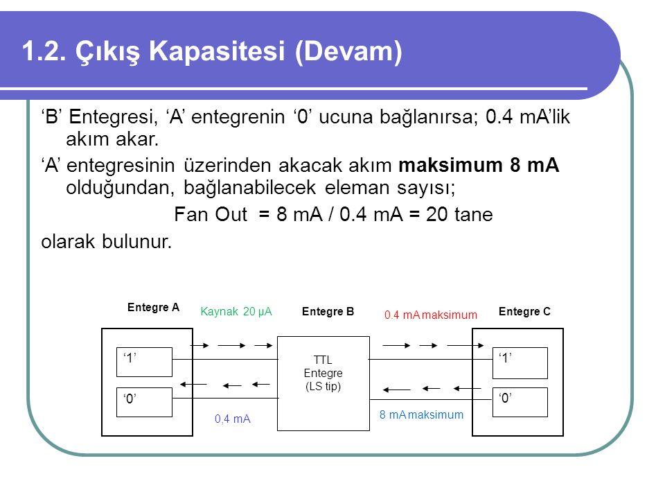 1.2. Çıkış Kapasitesi (Devam) 'B' Entegresi, 'A' entegrenin '0' ucuna bağlanırsa; 0.4 mA'lik akım akar. 'A' entegresinin üzerinden akacak akım maksimu