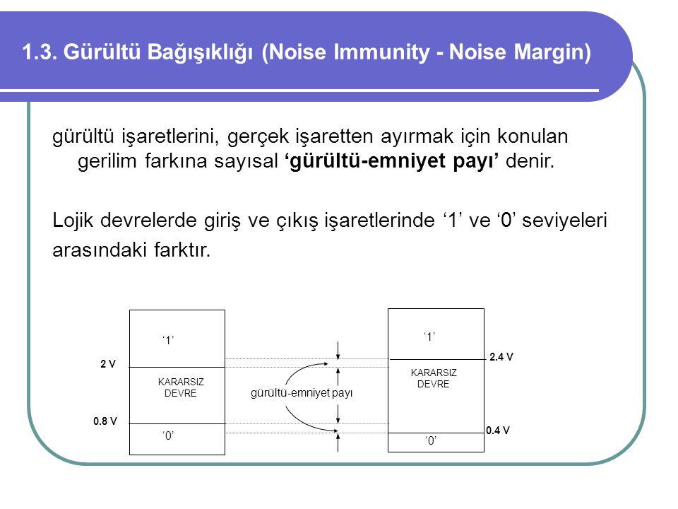 1.3. Gürültü Bağışıklığı (Noise Immunity - Noise Margin) gürültü işaretlerini, gerçek işaretten ayırmak için konulan gerilim farkına sayısal 'gürültü-