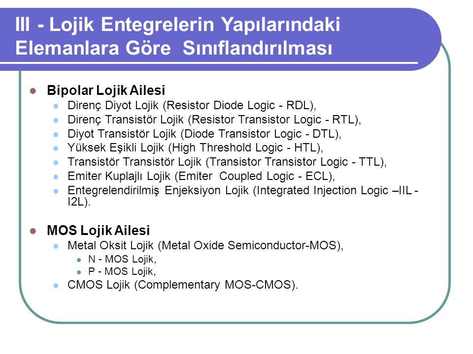 III - Lojik Entegrelerin Yapılarındaki Elemanlara Göre Sınıflandırılması Bipolar Lojik Ailesi Direnç Diyot Lojik (Resistor Diode Logic - RDL), Direnç