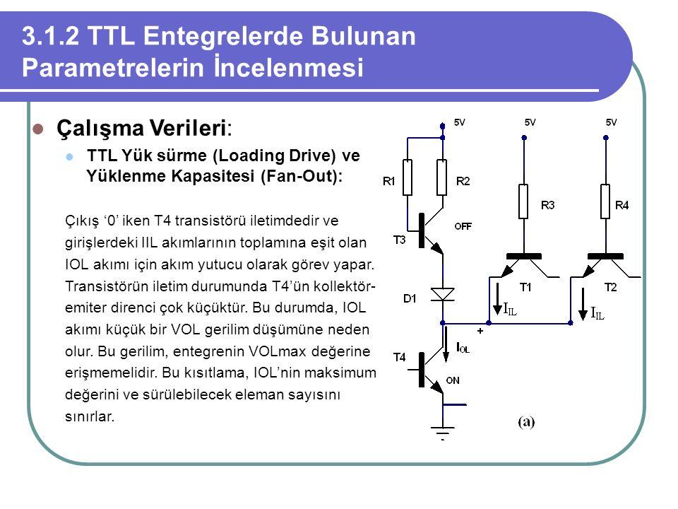 3.1.2 TTL Entegrelerde Bulunan Parametrelerin İncelenmesi Çalışma Verileri: TTL Yük sürme (Loading Drive) ve Yüklenme Kapasitesi (Fan-Out): Çıkış '0'