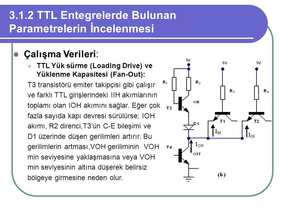 3.1.2 TTL Entegrelerde Bulunan Parametrelerin İncelenmesi Çalışma Verileri: TTL Yük sürme (Loading Drive) ve Yüklenme Kapasitesi (Fan-Out): T3 transis