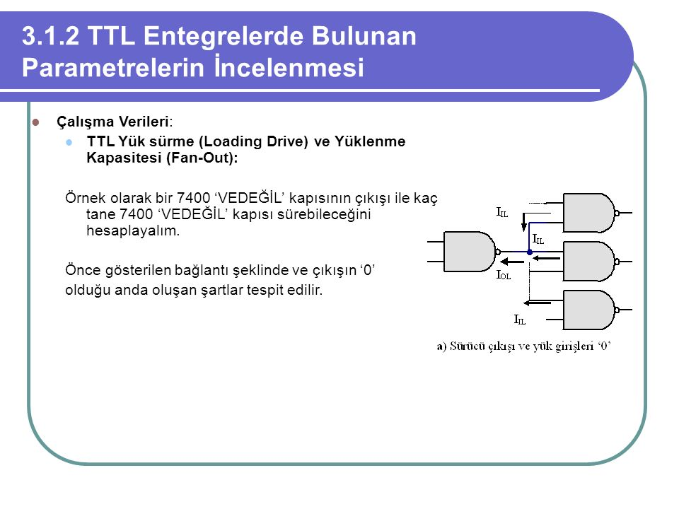 3.1.2 TTL Entegrelerde Bulunan Parametrelerin İncelenmesi Çalışma Verileri: TTL Yük sürme (Loading Drive) ve Yüklenme Kapasitesi (Fan-Out): Örnek olar