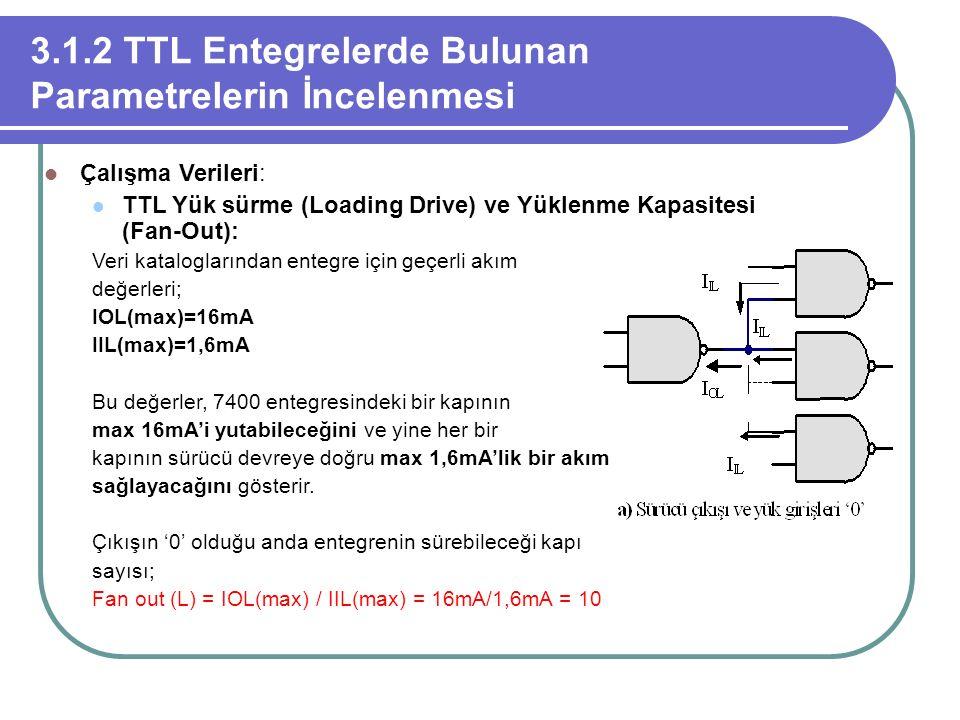 3.1.2 TTL Entegrelerde Bulunan Parametrelerin İncelenmesi Çalışma Verileri: TTL Yük sürme (Loading Drive) ve Yüklenme Kapasitesi (Fan-Out): Veri katal