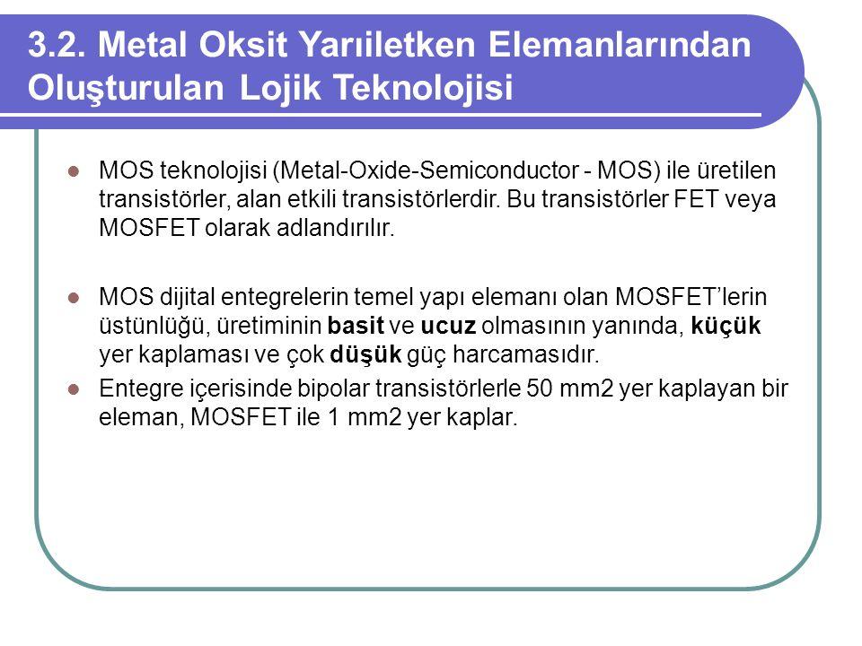 3.2. Metal Oksit Yarıiletken Elemanlarından Oluşturulan Lojik Teknolojisi MOS teknolojisi (Metal-Oxide-Semiconductor - MOS) ile üretilen transistörler