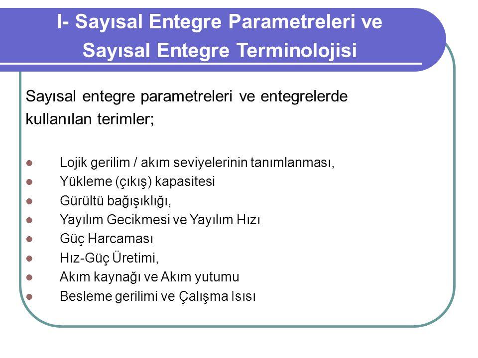 I- Sayısal Entegre Parametreleri ve Sayısal Entegre Terminolojisi Sayısal entegre parametreleri ve entegrelerde kullanılan terimler; Lojik gerilim / a