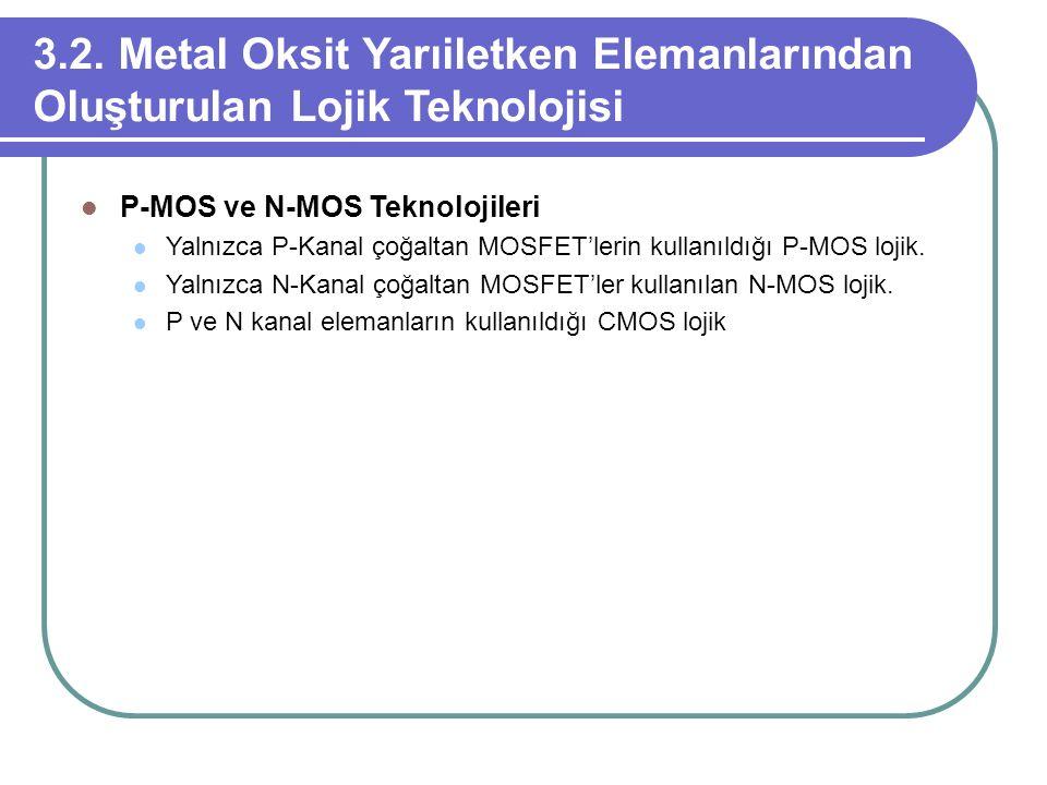 3.2. Metal Oksit Yarıiletken Elemanlarından Oluşturulan Lojik Teknolojisi P-MOS ve N-MOS Teknolojileri Yalnızca P-Kanal çoğaltan MOSFET'lerin kullanıl