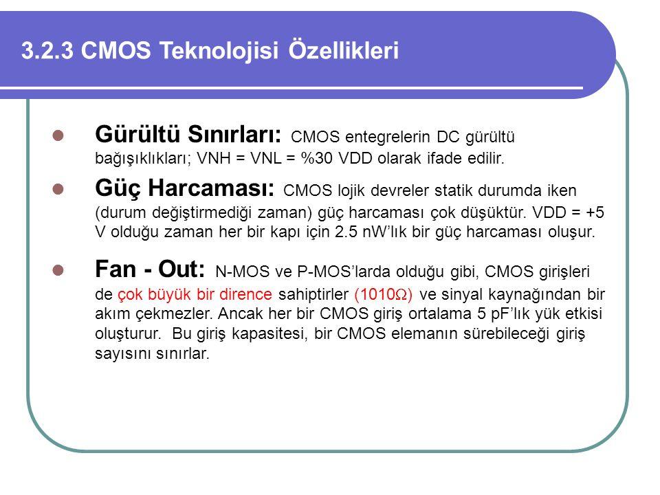 3.2.3 CMOS Teknolojisi Özellikleri Gürültü Sınırları: CMOS entegrelerin DC gürültü bağışıklıkları; VNH = VNL = %30 VDD olarak ifade edilir. Güç Harcam