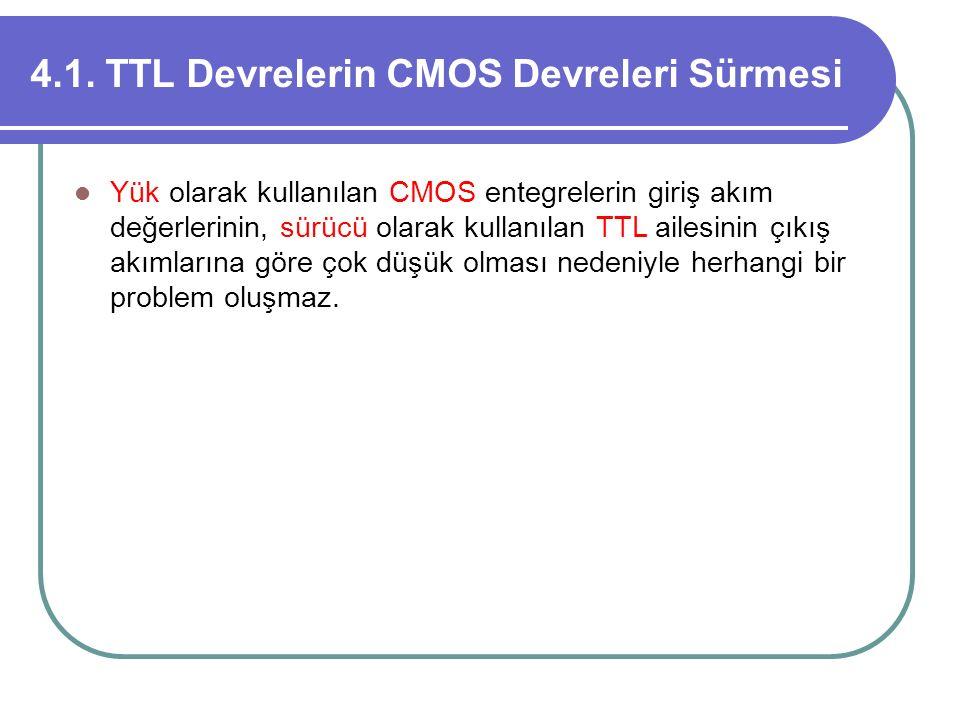 4.1. TTL Devrelerin CMOS Devreleri Sürmesi Yük olarak kullanılan CMOS entegrelerin giriş akım değerlerinin, sürücü olarak kullanılan TTL ailesinin çık