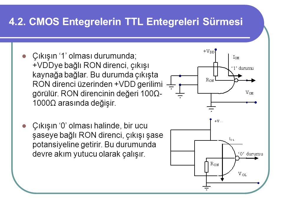 4.2. CMOS Entegrelerin TTL Entegreleri Sürmesi Çıkışın '1' olması durumunda; +VDDye bağlı RON direnci, çıkışı kaynağa bağlar. Bu durumda çıkışta RON d