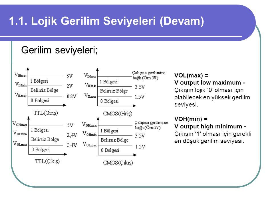 1.1. Lojik Gerilim Seviyeleri (Devam) Gerilim seviyeleri; VOL(max) = V output low maximum - Çıkışın lojik '0' olması için olabilecek en yüksek gerilim