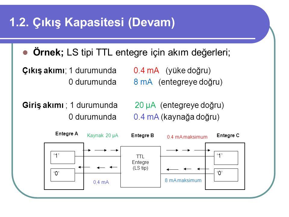1.2. Çıkış Kapasitesi (Devam) Örnek; LS tipi TTL entegre için akım değerleri; Çıkış akımı; 1 durumunda 0.4 mA (yüke doğru) 0 durumunda 8 mA (entegreye