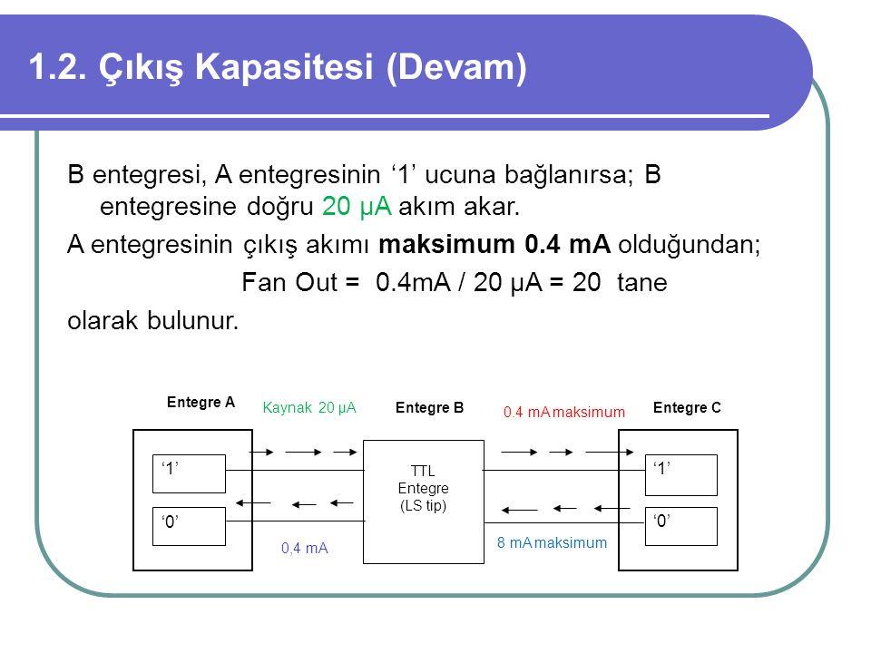 1.2. Çıkış Kapasitesi (Devam) B entegresi, A entegresinin '1' ucuna bağlanırsa; B entegresine doğru 20 μA akım akar. A entegresinin çıkış akımı maksim
