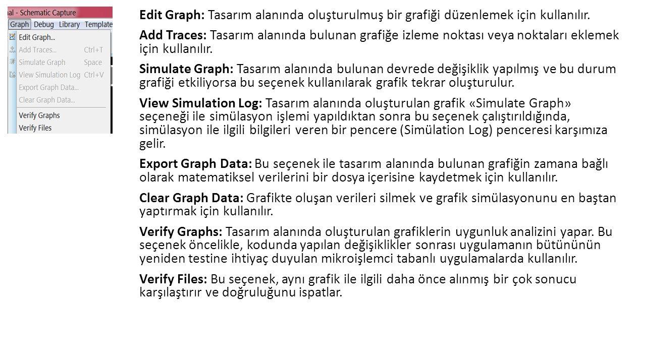 Edit Graph: Tasarım alanında oluşturulmuş bir grafiği düzenlemek için kullanılır.