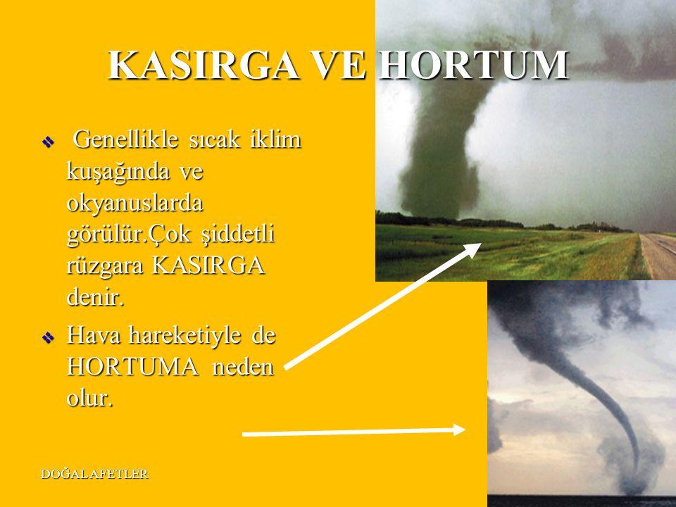 DOĞAL AFETLER25 KASIRGA VE HORTUM  Genellikle sıcak iklim kuşağında ve okyanuslarda görülür.Çok şiddetli rüzgara KASIRGA denir.