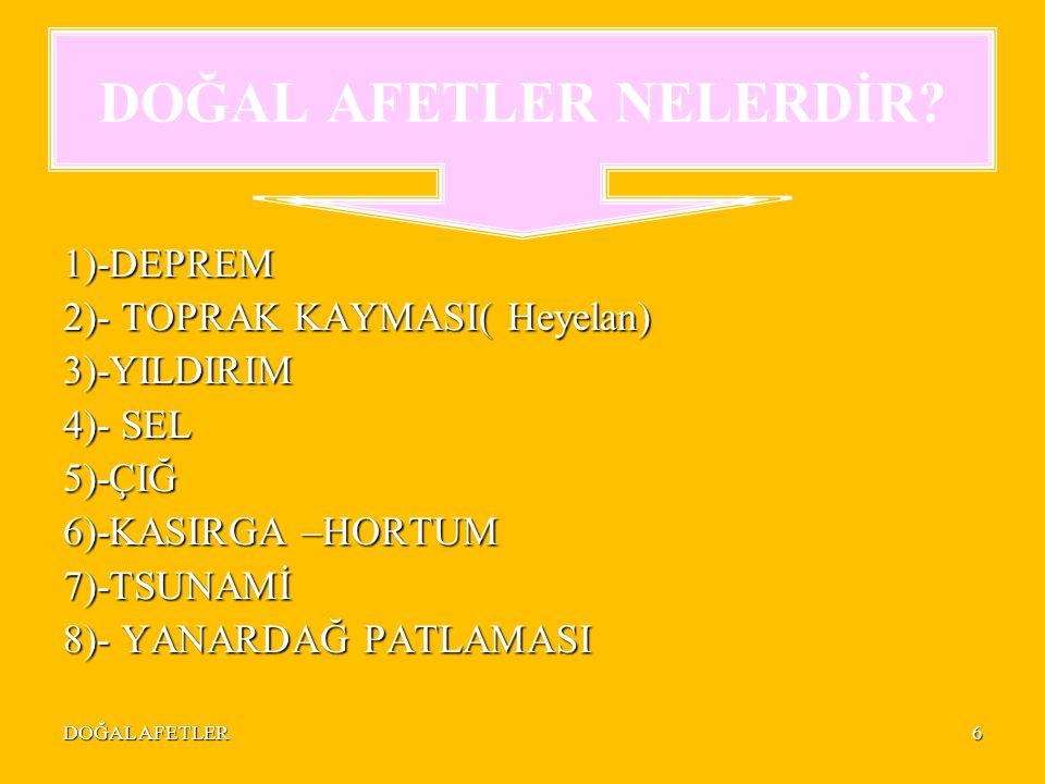 DOĞAL AFETLER6 1)-DEPREM 2)- TOPRAK KAYMASI( Heyelan) 3)-YILDIRIM 4)- SEL 5)-ÇIĞ 6)-KASIRGA –HORTUM 7)-TSUNAMİ 8)- YANARDAĞ PATLAMASI DOĞAL AFETLER NELERDİR?
