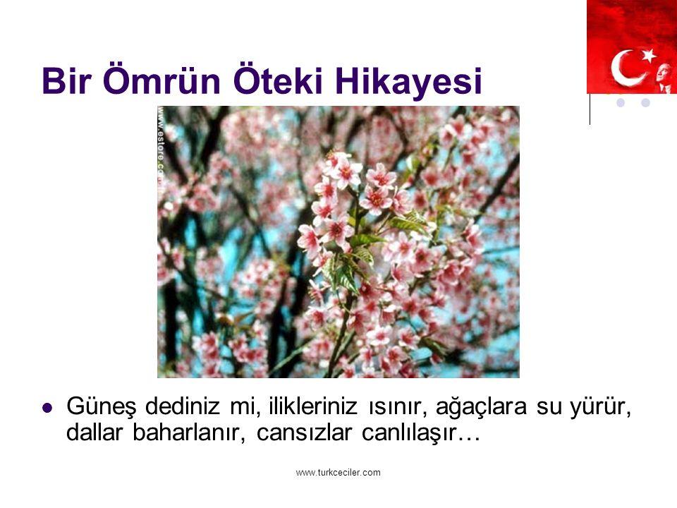 www.turkceciler.com Bir Ömrün Öteki Hikayesi Güneş dediniz mi, ilikleriniz ısınır, ağaçlara su yürür, dallar baharlanır, cansızlar canlılaşır…