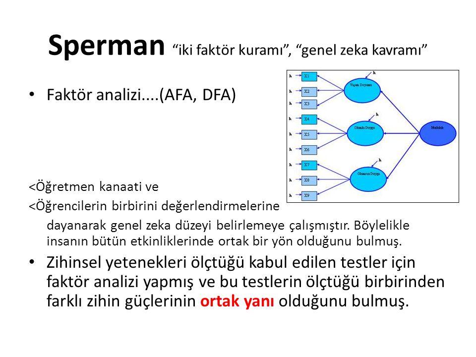 Sperman iki faktör kuramı , genel zeka kavramı Faktör analizi....(AFA, DFA) <Öğretmen kanaati ve <Öğrencilerin birbirini değerlendirmelerine dayanarak genel zeka düzeyi belirlemeye çalışmıştır.
