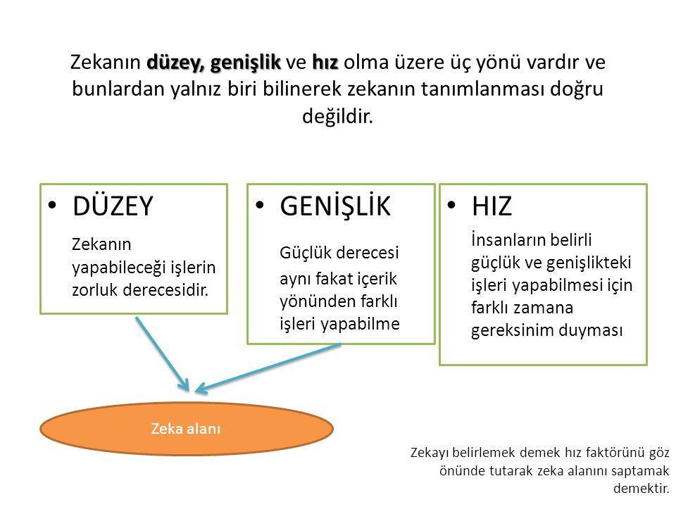 düzey, genişlikhız Zekanın düzey, genişlik ve hız olma üzere üç yönü vardır ve bunlardan yalnız biri bilinerek zekanın tanımlanması doğru değildir.